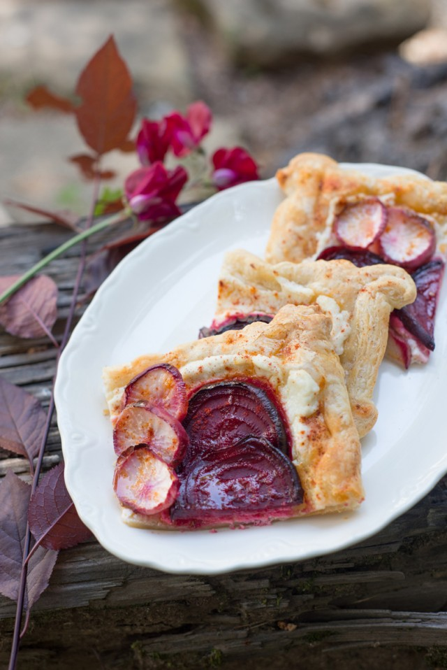 Roasted beet and turnip galette