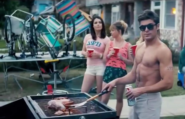 Zac Efron shirtless in Neighbors