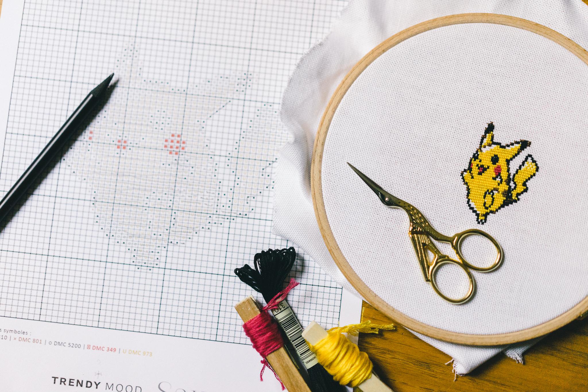 Pikachu au point de croix grille gratuite trendy mood - Broderie traditionnelle grille gratuite ...
