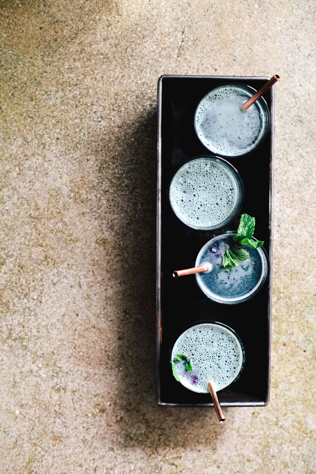 Blueberry mint matcha latte