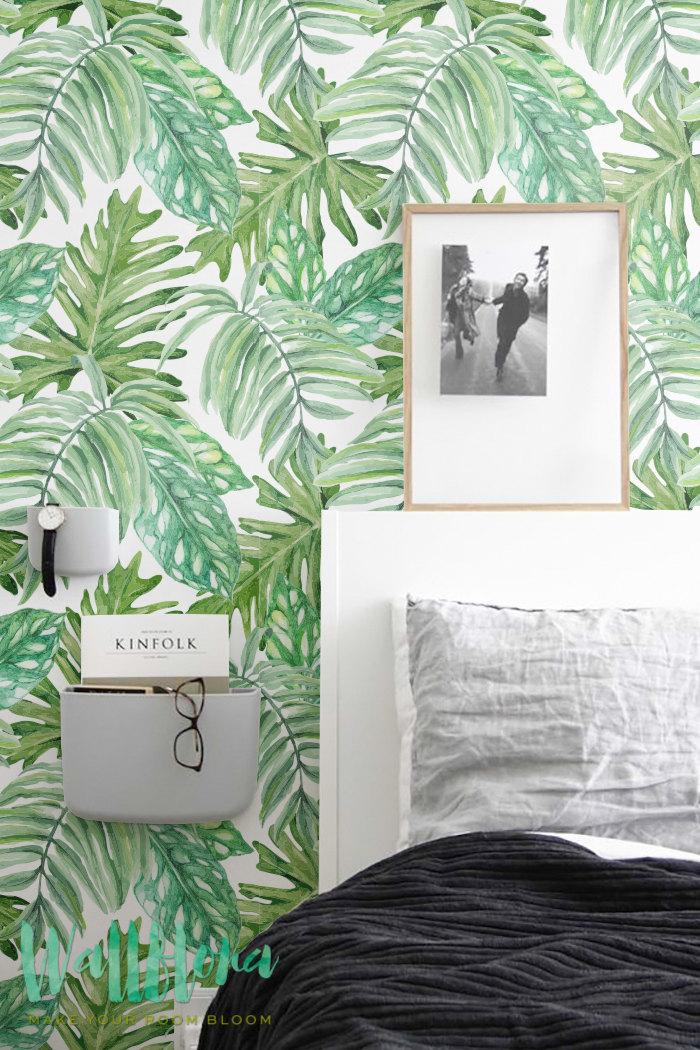 30 de r duction de monstera feuilles motif de papier peint papier peint amovible feuilles de. Black Bedroom Furniture Sets. Home Design Ideas